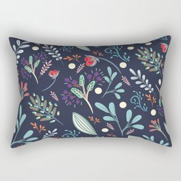Abstract floral illustration with rustic flowers and foliage Rectangular Pillow