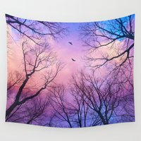peach Wall Tapestries featuring A New Day Will Dawn  (Day Tree Silhouettes) by soaring anchor designs