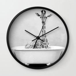 Skeptic Giraffe in Bath BW Wall Clock