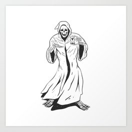 Grim reaper holding an hourglass -  black and white Art Print