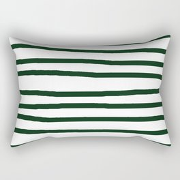 Simply Drawn Stripes in Pine Green Rectangular Pillow