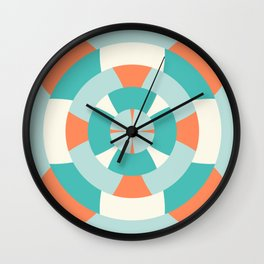 Simple geometric boat helm in mint and orange Wall Clock