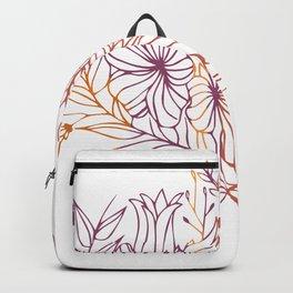 Purple and Orange Botanical Symmetry Backpack