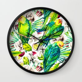 Flowery jungle of birds and fruit Wall Clock