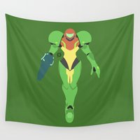 suit Wall Tapestries featuring Samus(Smash)Green Suit by samaran