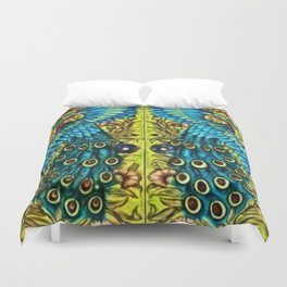 Peacocks with Flower Urns and Gold Leaf Duvet Cover