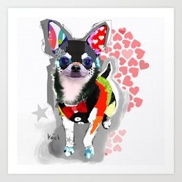 Colorful Chihuahua Dog Pop Art Collage by Michel Keck Art Print
