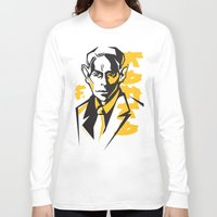 kafka Long Sleeve T-shirts featuring Kafka portrait in Orange, Black & Yellow by aygeartist