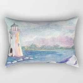 lighthouse on the seashore by watercolor Rectangular Pillow
