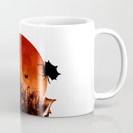 Spooky Halloween Blood Moon Screaming Birds And Spider Coffee Mug