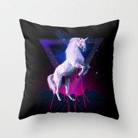 the last unicorn Throw Pillows featuring The last laser unicorn by Robert Farkas