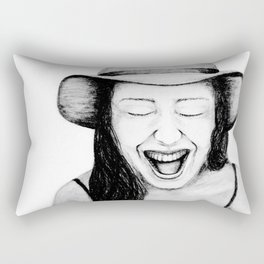 So Amused! Expressions of Happiness Series -Black and White Original Sketch Drawing, pencil/charcoal Rectangular Pillow