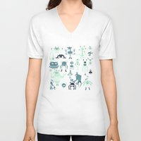 monsters V-neck T-shirts featuring Monsters! by Fran Court