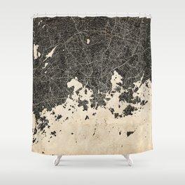 helsinki map ink lines 2 Shower Curtain