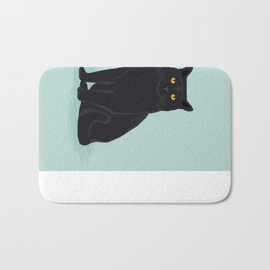 Black Cat cute cat breed customized pet portrait mint background cat lady gifts gender neutral kitty Bath Mat