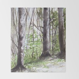 Woodland Trees in Vermont Illustration Nature Art Throw Blanket