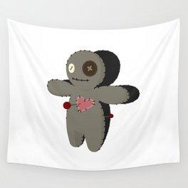 Voodoo doll. Cartoon horror elements. Spooky fear trick or treat Wall Tapestry