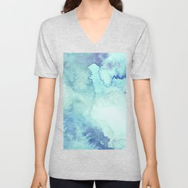 Watercolor pattern turquoise Unisex V-Neck