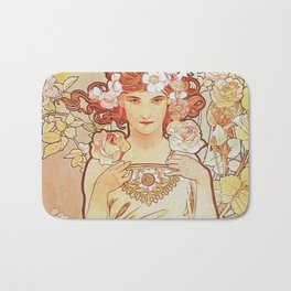 Rose by Alphonse Mucha 1897 // Vintage Girl with Red Hair Floral Love Design Bath Mat