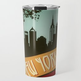 New York City Skyline NYC Retro Vintage Design  Description Travel Mug