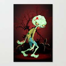 Zombie Creepy Monster Cartoon on Cemetery Canvas Print