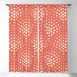 Pantone Living Coral with Cream Polka Dot Scallop Pattern Blackout Curtain