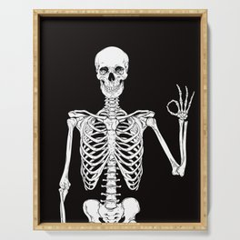 Okay Skeleton Close up Serving Tray