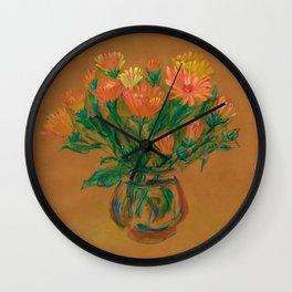 Pot Marigold Wall Clock