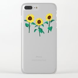 Sunny Sunflowers - Mint Clear iPhone Case