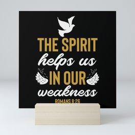 Romans 8 26 Christian Bible Verse Quote Mini Art Print