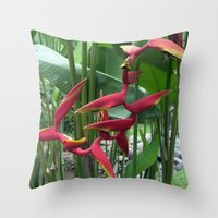 "indonesia Throw Pillows featuring Flower ""Heliconia"" (Bali, Indonesia) by Christian Haberäcker - acryl abstract"