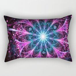 Winter violet glittered Snowflake or flower Background Rectangular Pillow