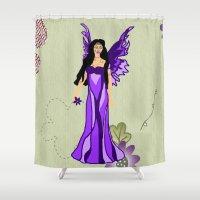 murakami Shower Curtains featuring Purple Fairy by Marcy Murakami