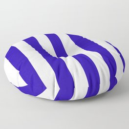 Neon blue - solid color - white vertical lines pattern Floor Pillow