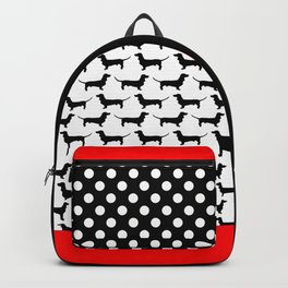 Dachshund Silhouette Black and White Pattern Backpack