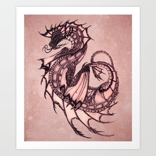 """Tsunami"" by Amber Marine ~ Sea Dragon (Coral Version) ~ Graphite & Charcoal Illustration, (c) 2005 Art Print"