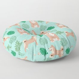 Shiba Inu summer monstera tropical pure breed dog gifts Floor Pillow