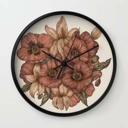 Poppies and Lilies Wall Clock