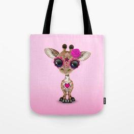 Pink Day of the Dead Sugar Skull Baby Giraffe Tote Bag