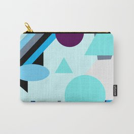 geometrical shapes in blue purple grey and black Carry-All Pouch