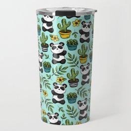 Panda Bear Print, Baby Panda, Blue and Green, Cute Panda Pattern Travel Mug