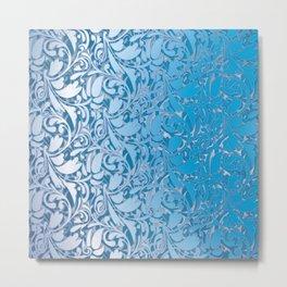 Blue Scroll Metal Print