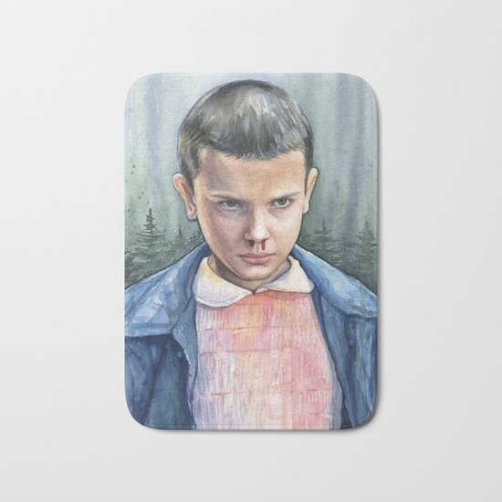 Stranger Things Eleven Watercolor Portrait Art Bath Mat