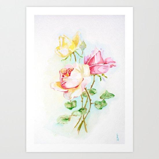 Three roses Art Print