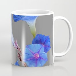 Grey Color Blue Morning Glory Art Design Pattern Coffee Mug