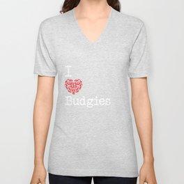 I Heart Budgies   Love Budgerigar Bird Breeds Unisex V-Neck