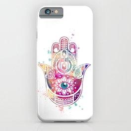 Hamsa Hand Colorful Purple Watercolor Art Gift iPhone Case
