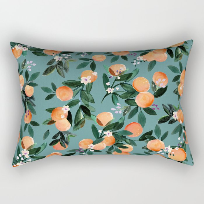 Dear Clementine - oranges teal by Crystal Walen Rectangular Pillow