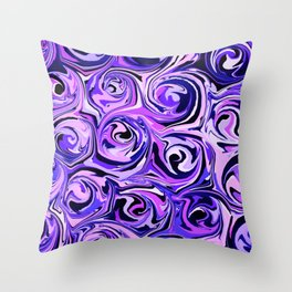 Violet and Lilac Paint Swirls Throw Pillow