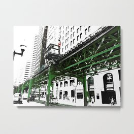 Chicago photography - Chicago EL art print in green black and white Metal Print